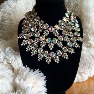 Triple Strand Crystal Statement Necklace